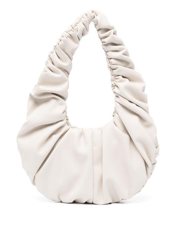 Nanushka faux-leather draped shoulder bag in neutrals