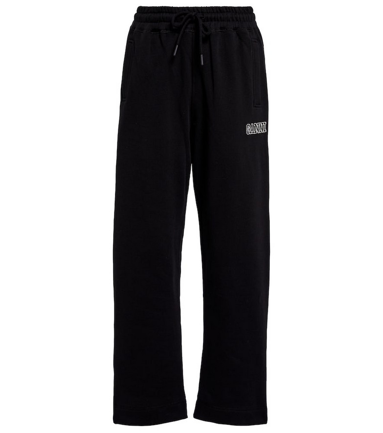 GANNI Cotton-blend sweatpants in black