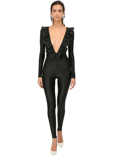 ALESSANDRA RICH Ruffled Jersey Jumpsuit W/ Crystals in black
