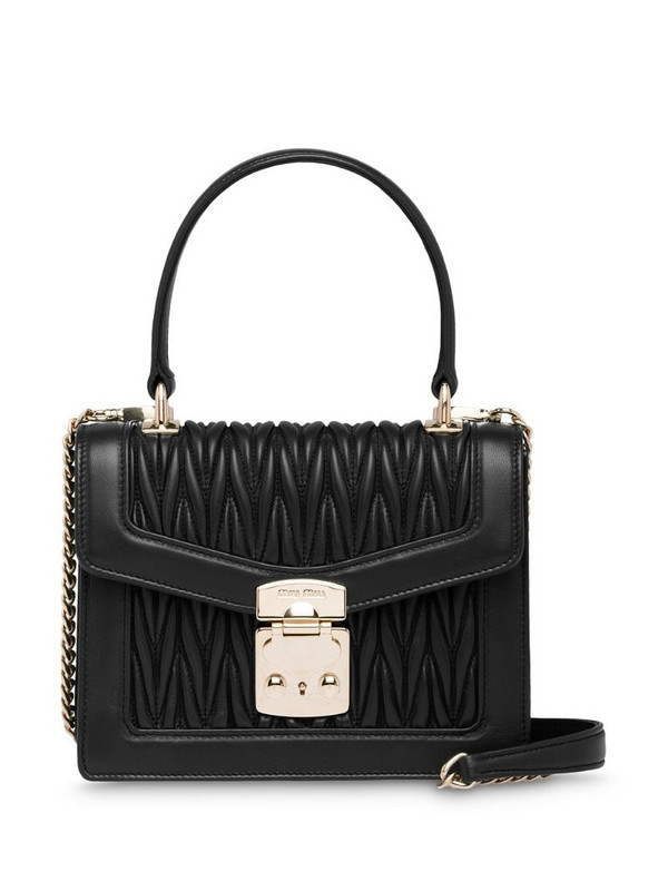 Miu Miu Confidential matelassé-effect tote bag in black