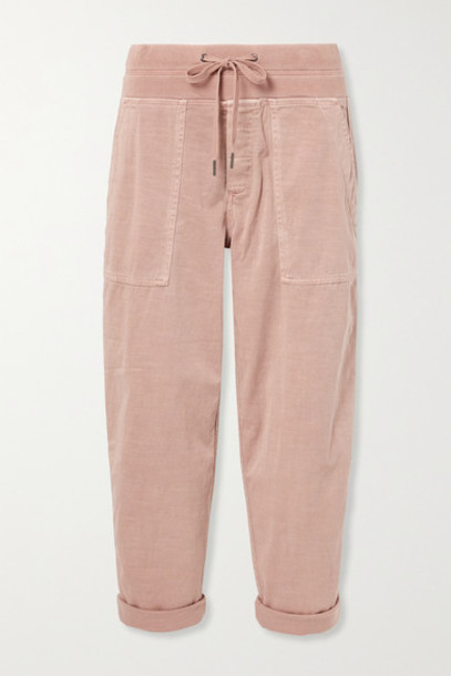 James Perse - Cropped Cotton-blend Twill Cargo Pants - Pink