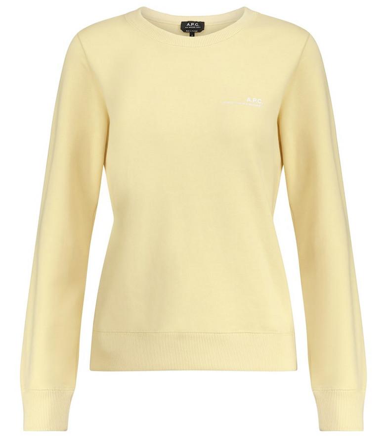 A.P.C. Logo cotton jersey sweatshirt in yellow