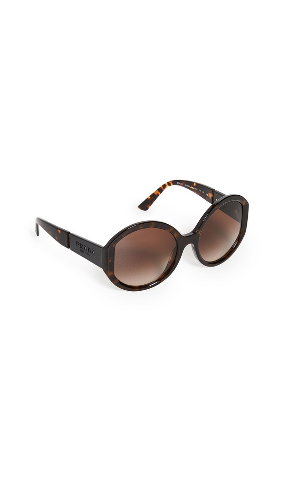 Prada Monochrome Logo Round Sunglasses in black