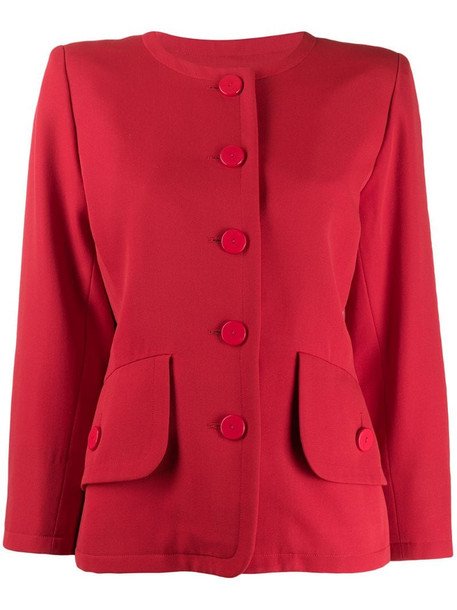 Yves Saint Laurent Pre-Owned loose collarless jacket in red