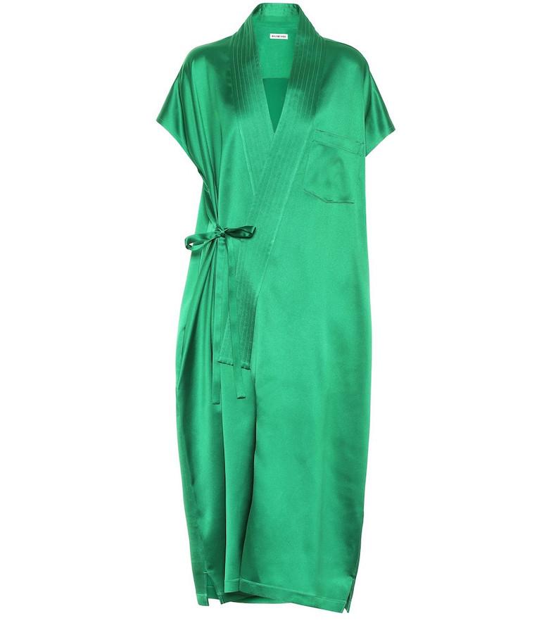 Balenciaga Stretch-satin midi dress in green