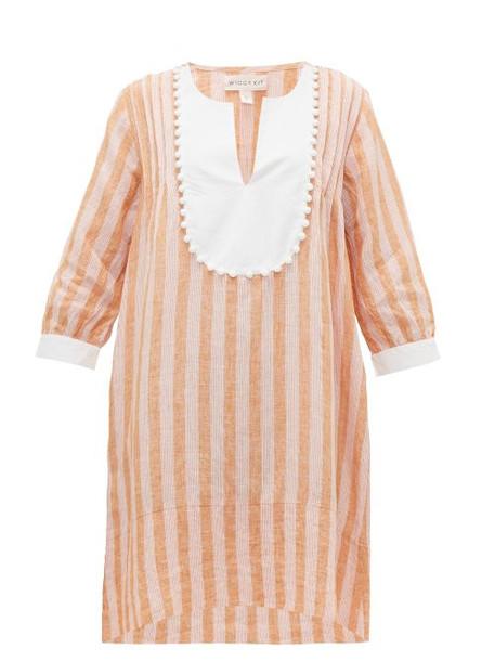 Wiggy Kit - Tux Trapeze Striped Linen Kaftan - Womens - Pink Stripe