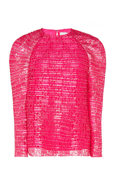 Huishan Zhang Amy Long-Sleeve Tweed Blouse Size: 6 in red