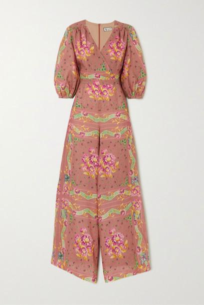 Paul & Joe - Wrap-effect Floral-print Linen Jumpsuit - Orange