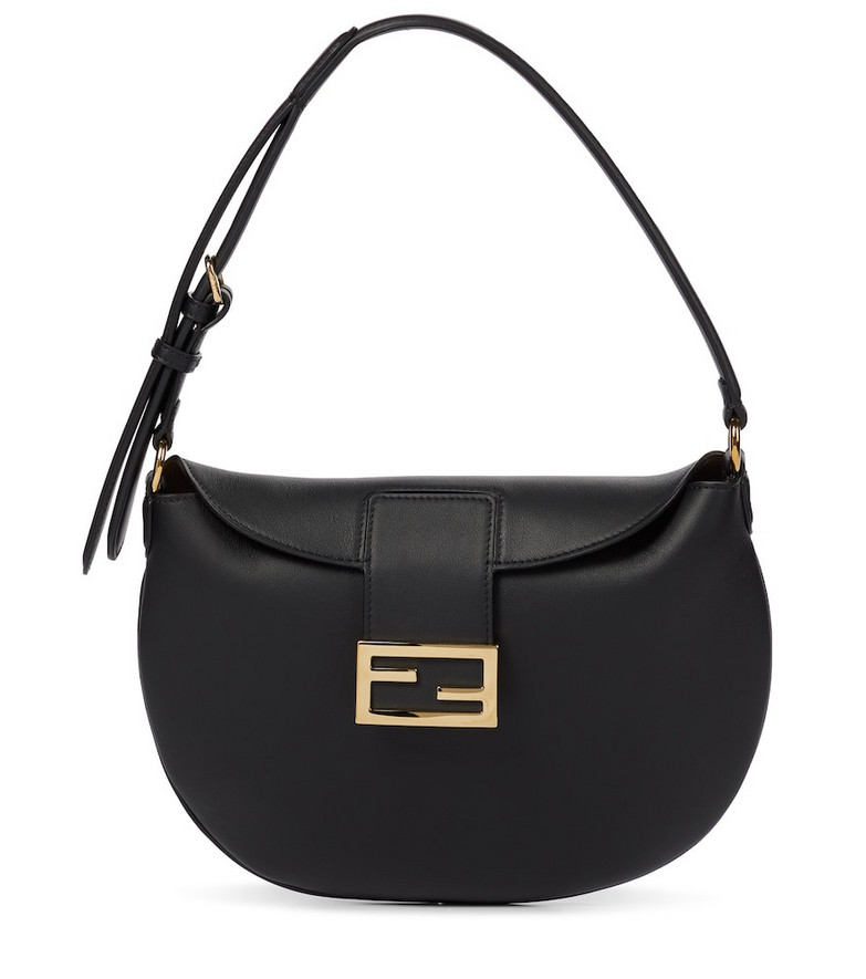 Fendi Croissant Small leather shoulder bag in black