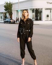 jumpsuit,black jumpsuit,long sleeves,pvc,boots,black bag,belt bag