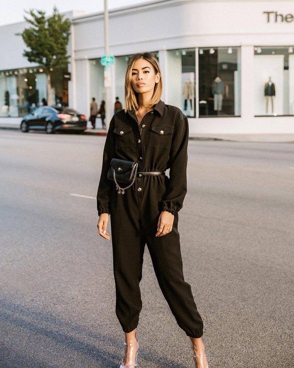 jumpsuit black jumpsuit long sleeves pvc boots black bag belt bag
