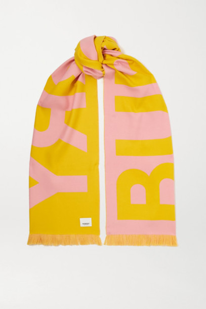 Burberry - Fringed Two-tone Intarsia Wool Scarf - Pink