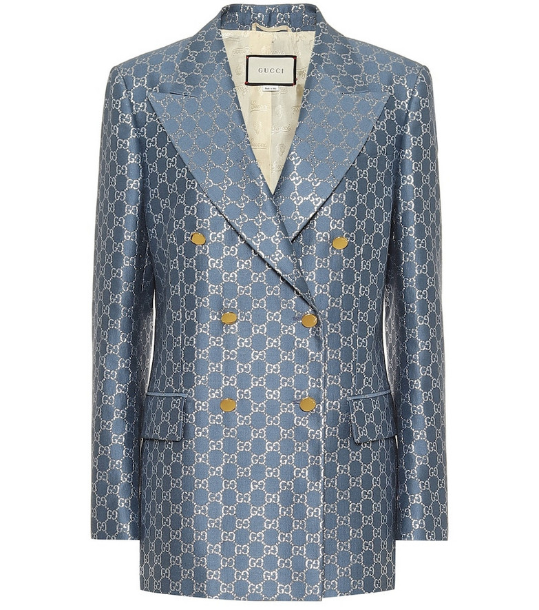 Gucci GG wool and silk lamé blazer in blue