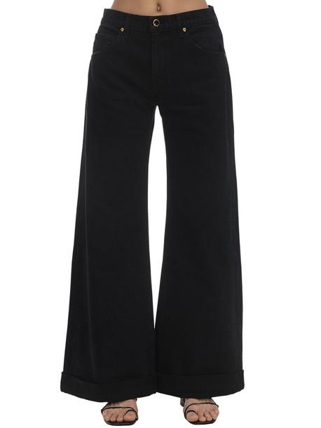 KHAITE Noelle Cotton Denim Wide Leg Jeans in black