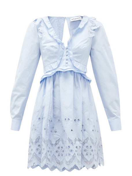Self-portrait - Ruffled V-neck Broderie-anglaise Cotton Mini Dress - Womens - Light Blue