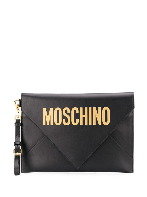 Moschino logo print envelope clutch in black