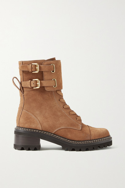 See By Chloé See By Chloé - Mallory Buckled Suede Ankle Boots - Brown