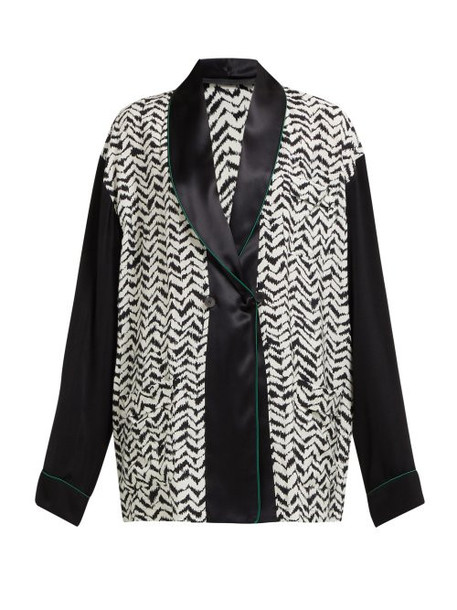 Haider Ackermann - Greenfield Chevron Stripe Crepe Jacket - Womens - Black White