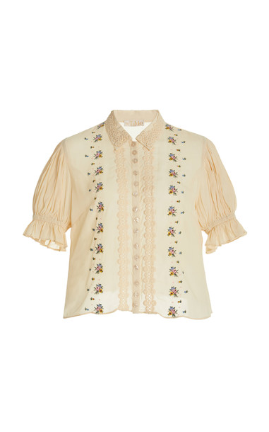byTiMo Embroidered Lace-Trimmed Blouse in white