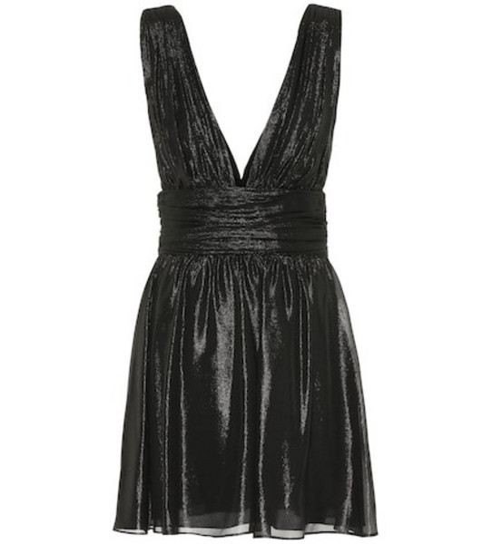 Saint Laurent Metallic silk-blend minidress in black