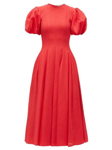 Emilia Wickstead - Doreen Puff-sleeve Seersucker Dress - Womens - Red