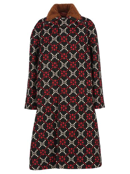 Gucci Coat Cappa Gg in black / red / white