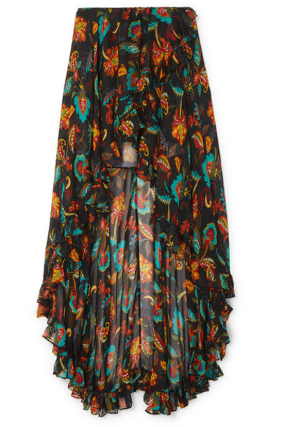 Caroline Constas - Adelle Asymmetric Floral-print Silk-chiffon Maxi Skirt - Black