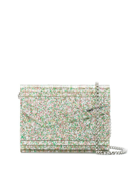 Jimmy Choo Candy glitter-embellished crossbody bag in silver