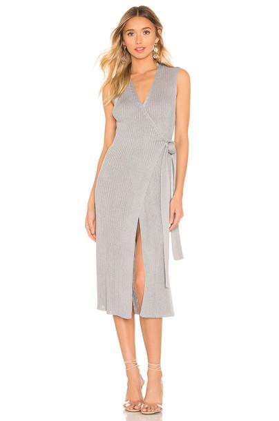L'Academie Charlotte Wrap Dress in gray