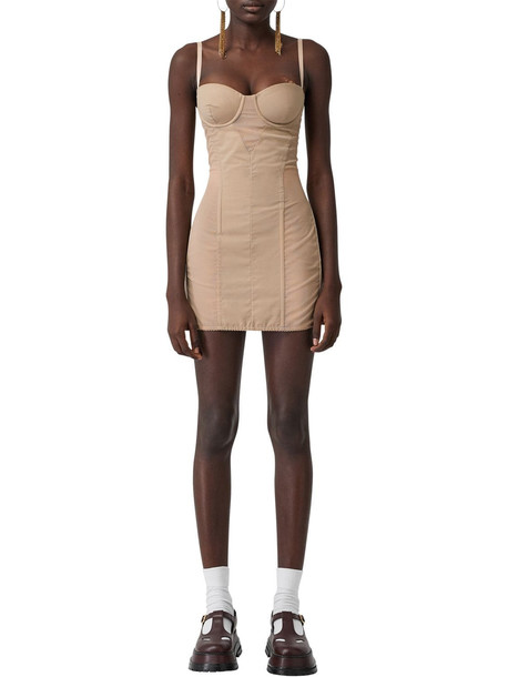 BURBERRY Tulle & Cotton Mini Dress in beige