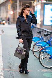 bag,victoria's secret model,georgia fowler,model off-duty,model,streetstyle,streetwear