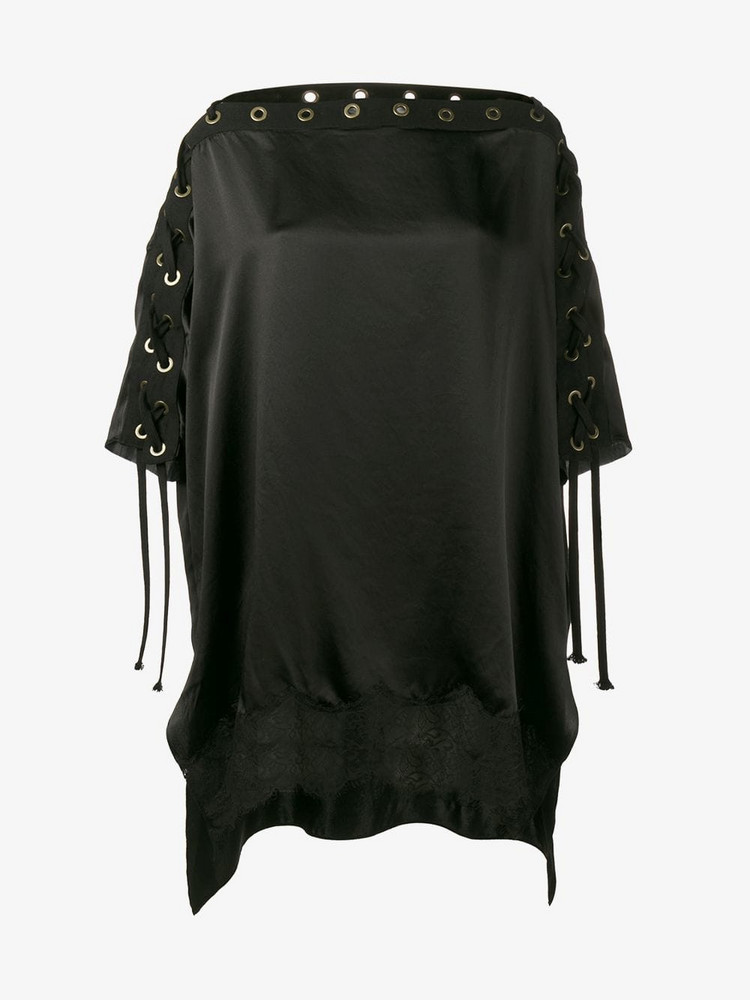 Faith Connexion Boat neck Blouse with Eyelet Detailing in black
