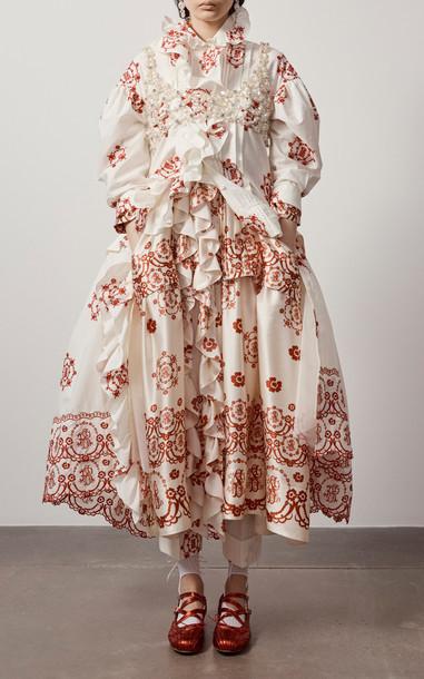 Simone Rocha Frill Pleated Silk-Satin Dress in white