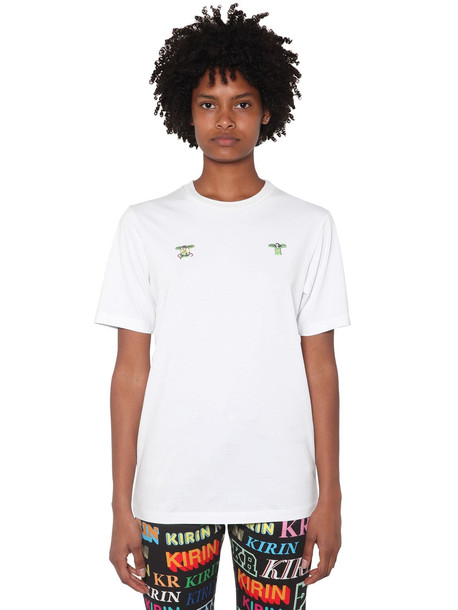 KIRIN Front Embroidered Cotton Jersey T-shirt in white