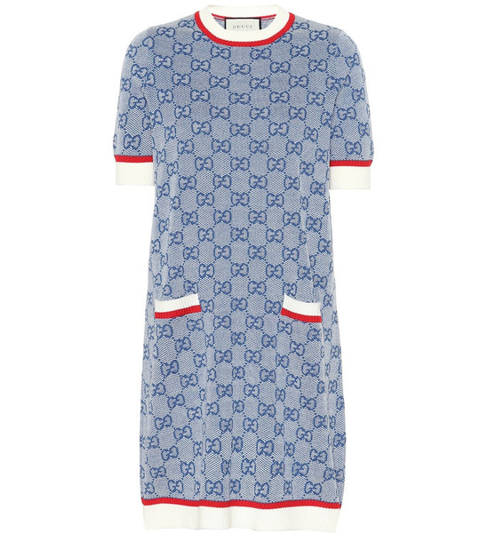 Gucci GG wool and cotton knit dress in blue