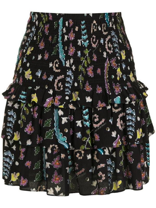 Cynthia Rowley Hazel smocked skirt in black