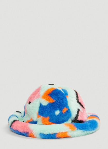 Kirin Faux-Fur Cloche Hat in Green size S - M