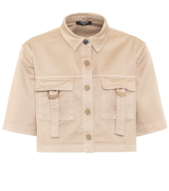 Balmain Cropped stretch-cotton shirt in beige