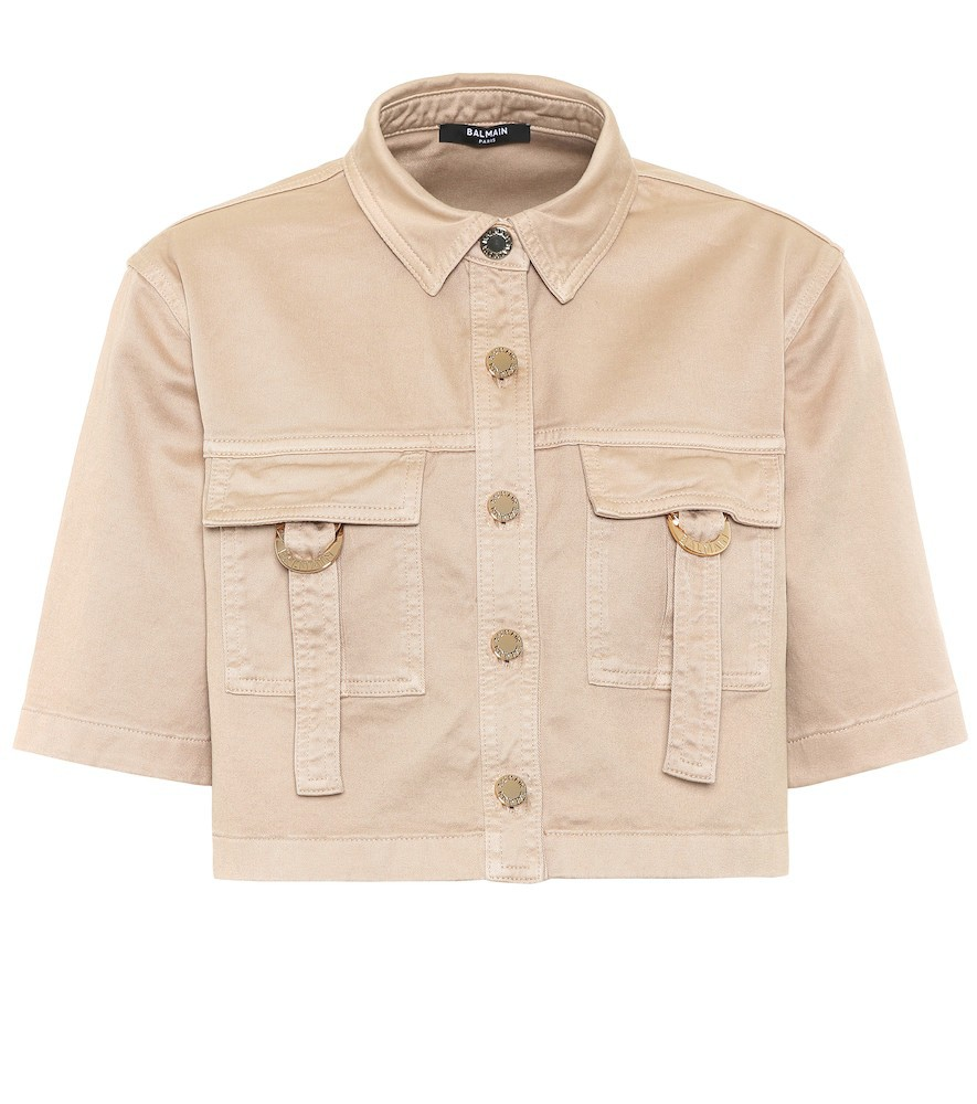 Balmain Cropped stretch-cotton shirt in beige