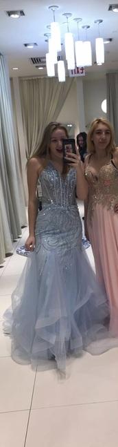 dress,blue,mermaid prom dress,camille la vie