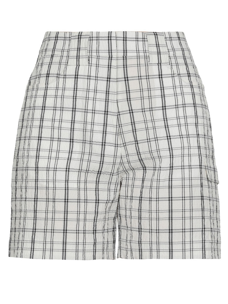 AALTO Check Patterned Short in white