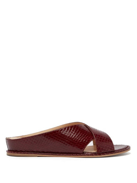 Gabriela Hearst - Ellington Elaphe Slides - Womens - Burgundy