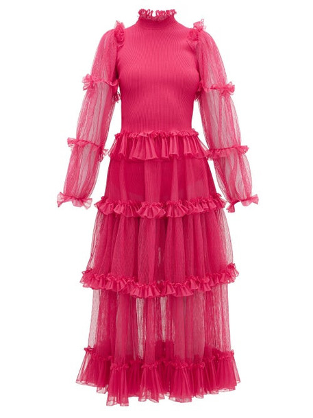 Alexander Mcqueen - Tiered Tulle And Stretch-jersey Dress - Womens - Pink