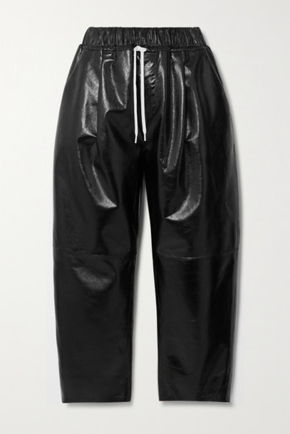 Givenchy - Textured Patent-leather Wide-leg Pants - Black