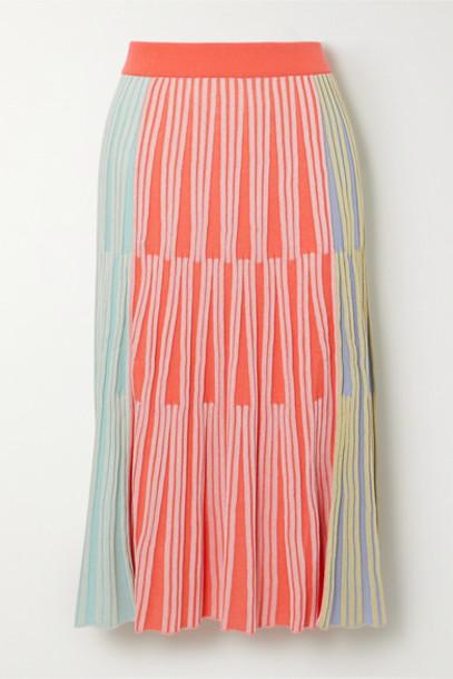 KENZO - Color-block Ribbed-knit Midi Skirt - Orange