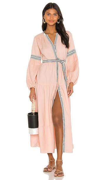 Lemlem Koki Peasant Dress in Pink
