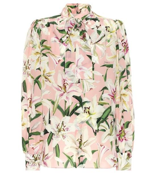 Dolce & Gabbana Floral silk-crêpe de chine blouse in pink