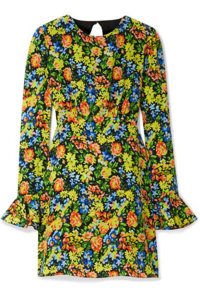Les Rêveries - Open-back Floral-print Silk Crepe De Chine Mini Dress - Yellow