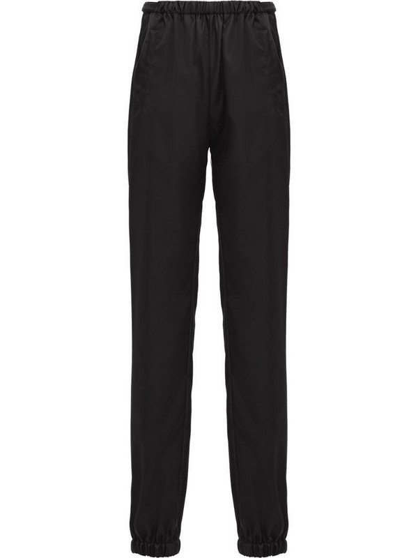 Prada logo plaque track pants in black