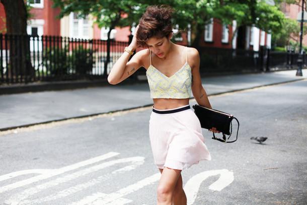 trop rouge top skirt shoes bag jewels